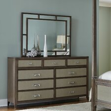 Biscayne West 9 Drawer Dresser with Mirror by Michael Amini (AICO)