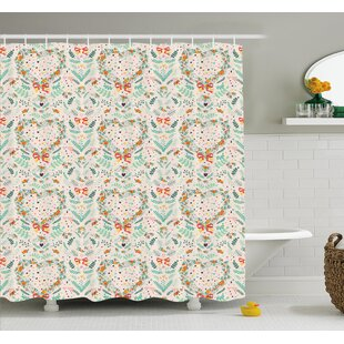 Vintage Country Style Kitsch Ornaments With Heart Flowers Ribbon Illustration Shower Curtain Set