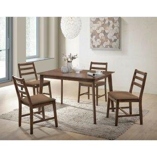 Modlin Wooden Slatted Back Chairs 5 Piece Dining Set