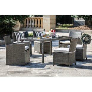 One Allium Way Berrier 7 Piece Dining Set with Cushions
