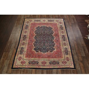 One-of-a-Kind Petrella Kerman Lavar Ravar Persian Hand-Knotted 8'8 x 11'7 Wool Red/Beige/Blue Area Rug ByIsabelline