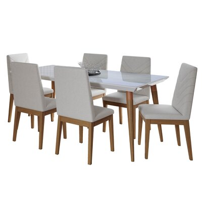 George Oliver Lemington 7-Piece 70.86 Solid Wood Dining Set with 6 Dining Chairs in White Gloss Marble and Beige Color: White Gloss Marble
