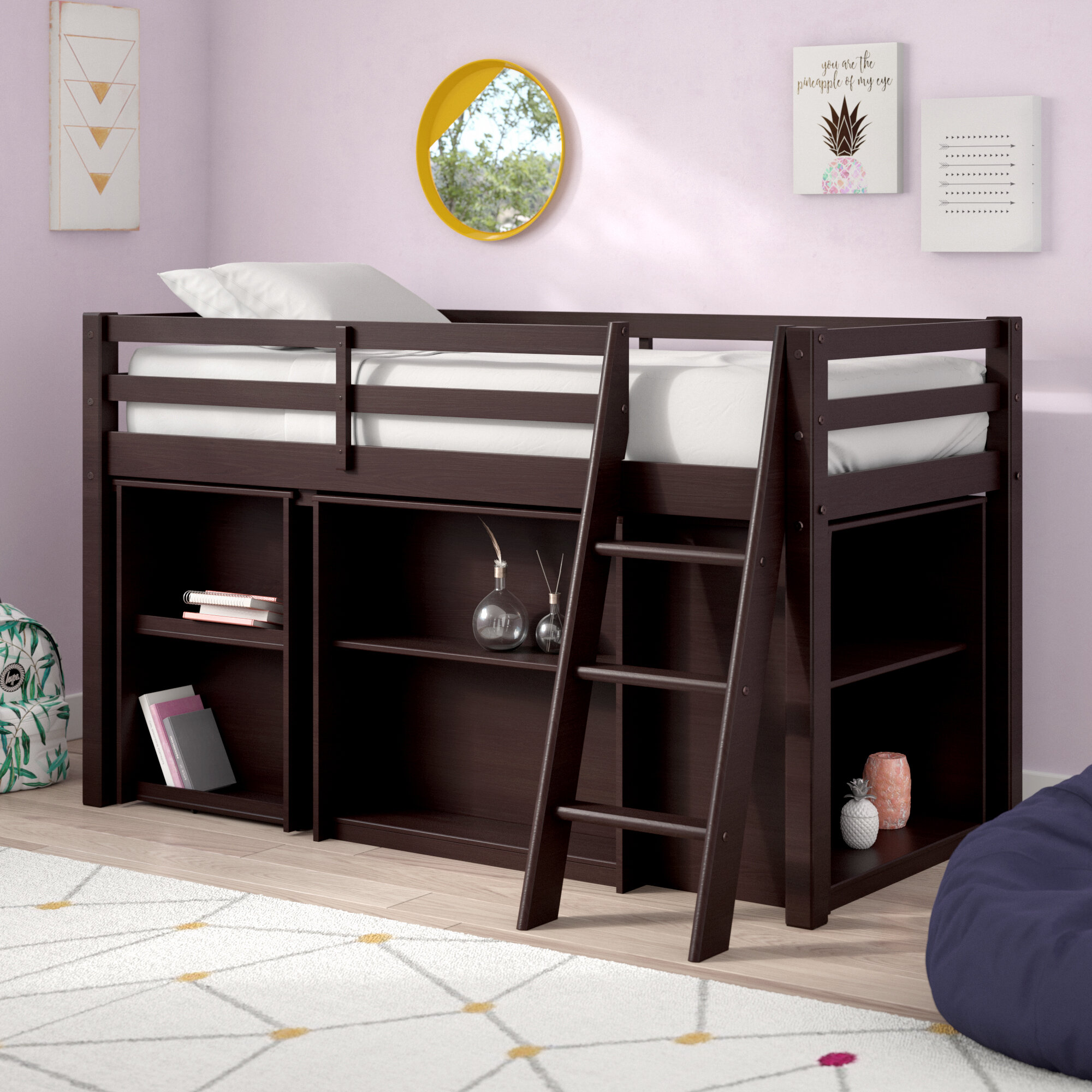 Mack Milo Kwinana Twin Low Loft Bed With Desk And Bookcase
