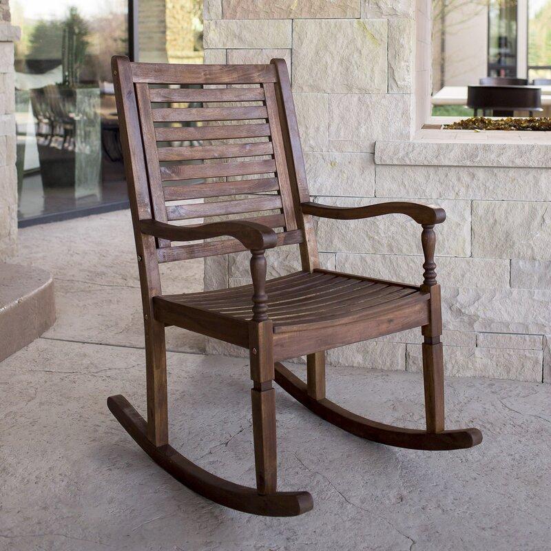 Attractive Imene Solid Acacia Wood Patio Rocking Chair Nice Look