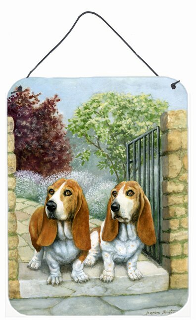 Caroline S Treasures Basset Hounds In The Gate By Daphne Baxter Painting Print Plaque Wayfair