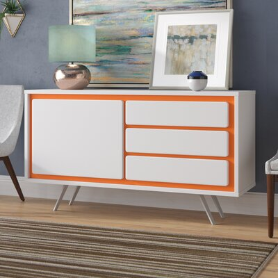 Ivy Bronx Maison Sideboard Base Color: Orange, Leg Color: White