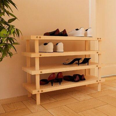 4tier wood shoe rack