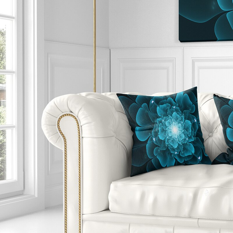 East Urban Home Floral Fractal Flower Digital Art Pillow Wayfair
