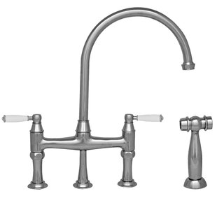 Whitehaus Collection Queenhaus Double Handle Kitchen Faucet with Side Spray