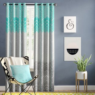 Stansel Chevron Max Blackout Grommet Single Curtain Panel by Wrought Studio