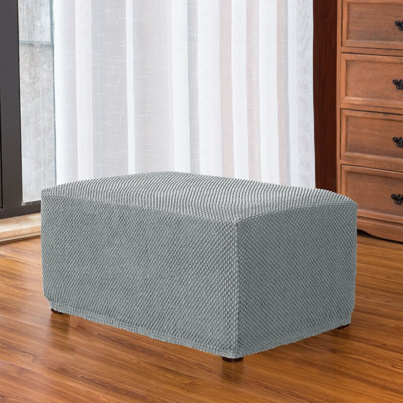 Textured Raised Dot Spandex Stretch Box Cushion Ottoman Slipcover