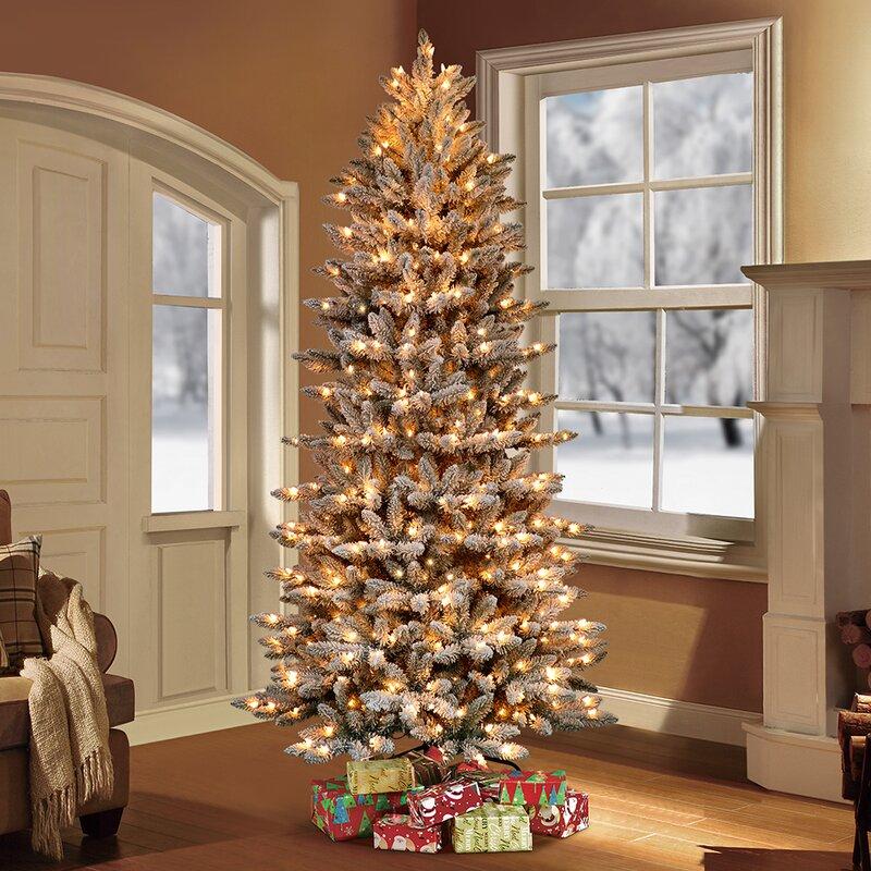 The Holiday Aisle® Pre-Lit Flocked Slim Fraser Fir Artificial Christmas Tree  & Reviews   Wayfair