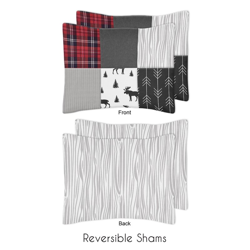 3 Piece White Grey Plaid Flannel Comforter Full Queen Set Cabin Themed Bedding