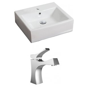 Check Prices Ceramic 21 Wall Mount Bathroom Sink with Faucet and Overflow By Royal Purple Bath Kitchen