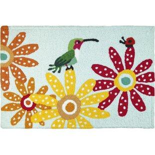 Bearer Hummingbird And Ladybug Hand-Tufted Pink/Orange/Green Indoor/Outdoor Area Rug