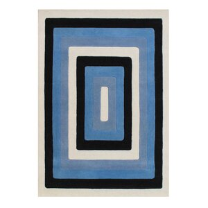 Dicarlo The Lovely Shades Hand-Woven Black/Blue Area Rug