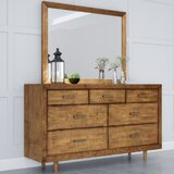 Glassman Retro Wood 7 Drawer Double Dresser with Mirror by George Oliver