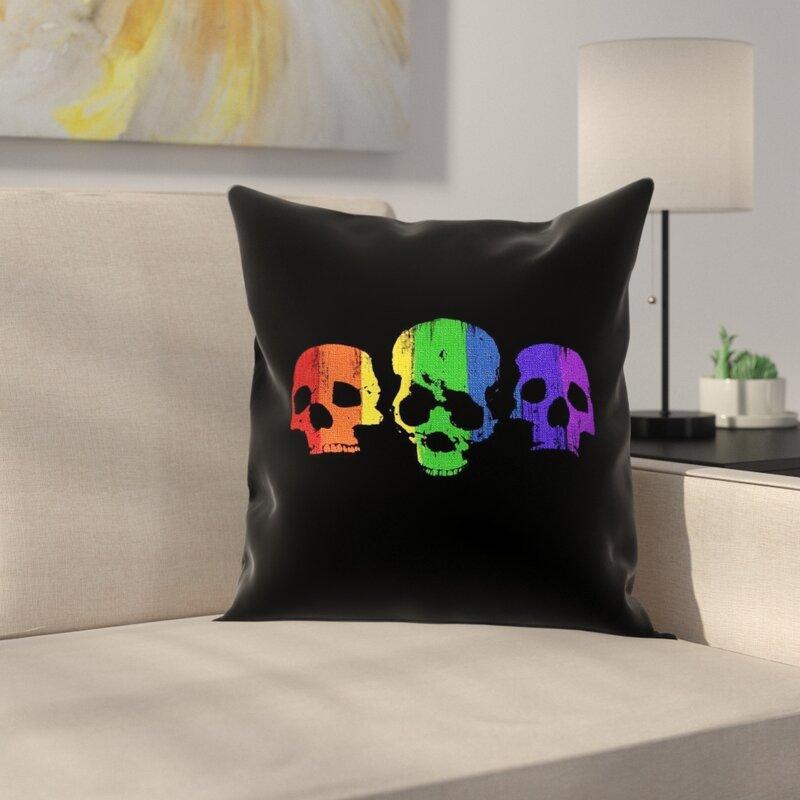 East Urban Home Rainbow Skulls Pillow Cover Wayfair