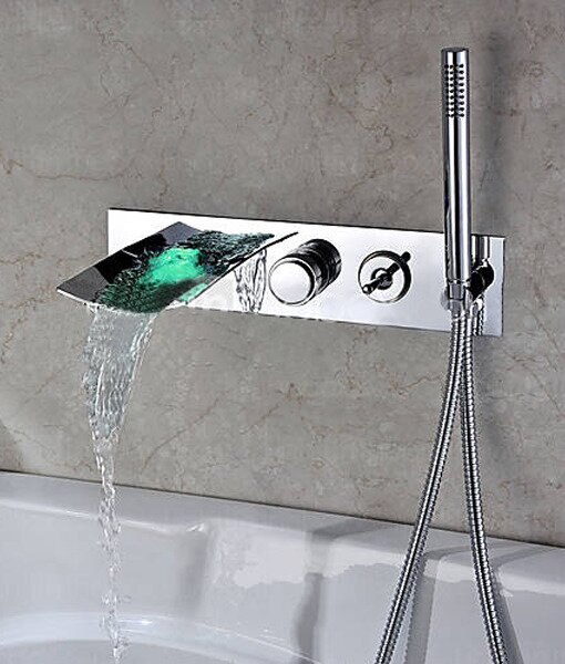 Single Handle Wall Mount Tub Faucet With Hand Shower