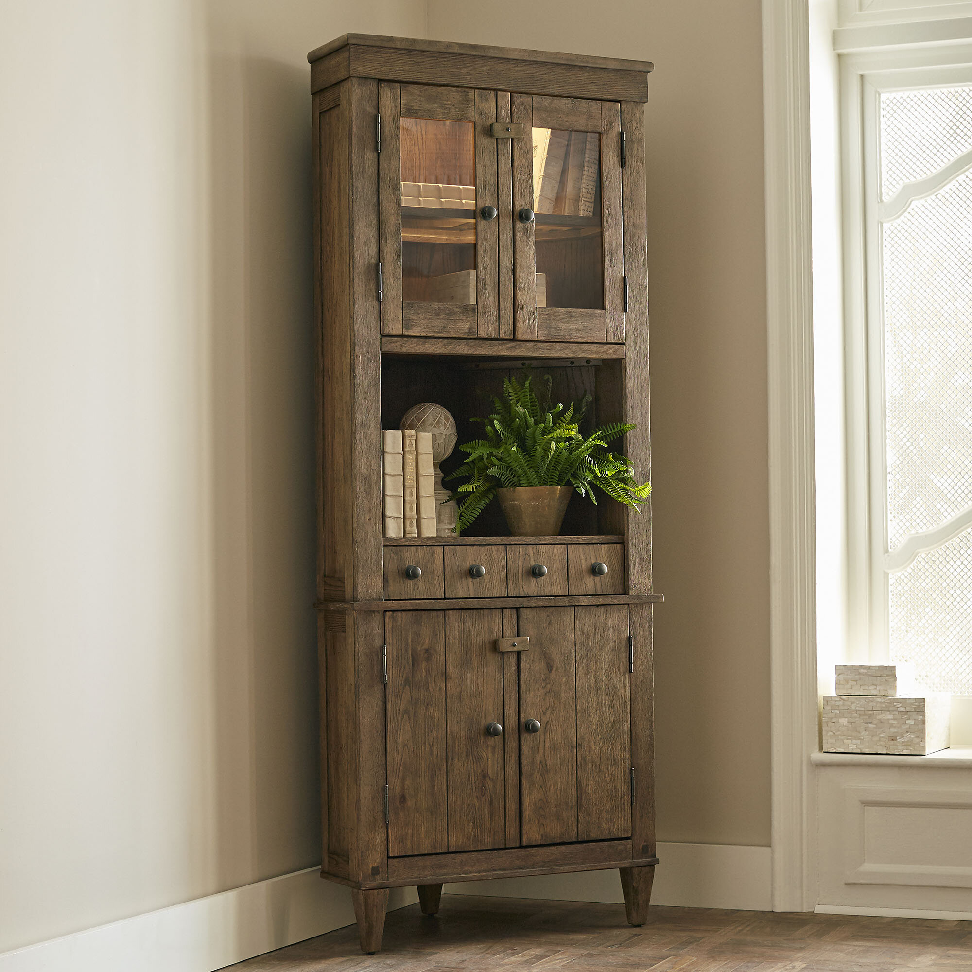 Birch Lane™ Derrickson Corner Cabinet & Reviews | Birch Lane on tables for corners, wall decoration for corners, interior decorating for corners, bathroom vanities for corners, window treatments for corners, kitchen cabinets for corners, chandeliers for corners,