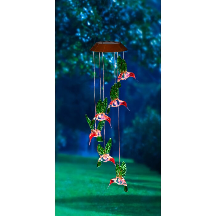 Freeport Park Green Bui Painted Solar Mobile Wind Chime