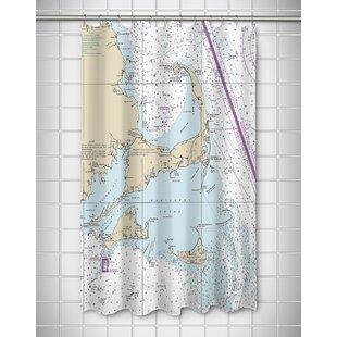 Hosteen Cape Cod Nantucket MA Nautical Chart Shower Curtain