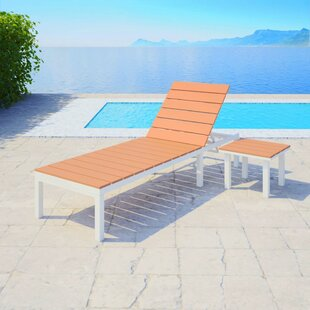 Free S&H Bahr Reclining Sun Lounger With Table