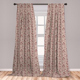 Ambesonne Fl Curtains Blossoming Spring Meadow Pattern In Retro Style With Curly Details Window Treatments 2 Panel Set For Living Room Bedroom