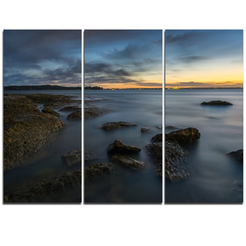 Designart Bluish Sunset At La Perouse Sydney 3 Piece Graphic Art On Wrapped Canvas Set Wayfair