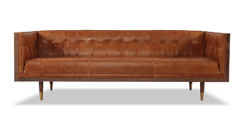 Incroyable Carey Mid Century Modern Box Leather Sofa