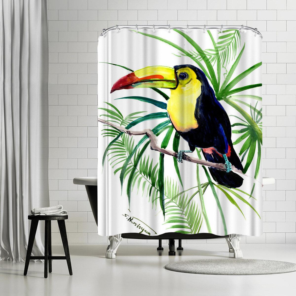 East Urban Home Suren Nersisyan Tropical Toucan Single Shower Curtain Wayfair