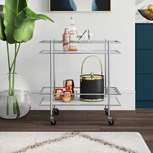 Malm Oak Wood/Metal 2-Tier Bar Cart by Mercury Row