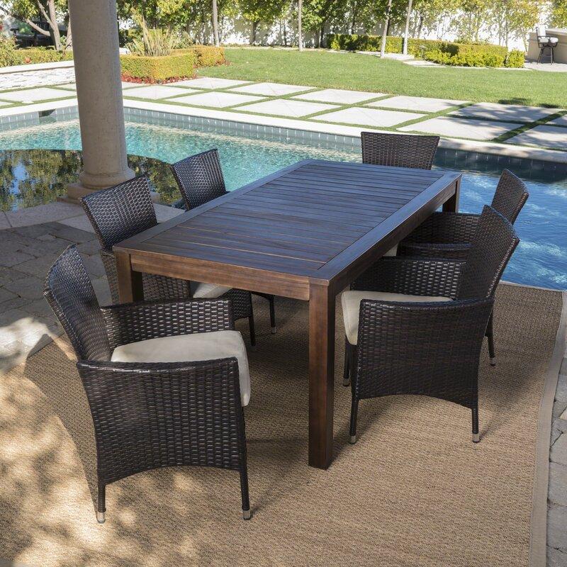 Brayden Studio Appel Outdoor 7 Piece Dining Set With Cushions Reviews Wayfair Ca