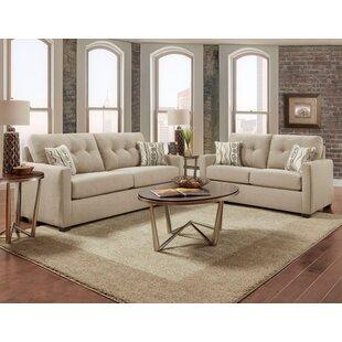 Ebern Designs Caster Tufted 2 Piece Living Room Set