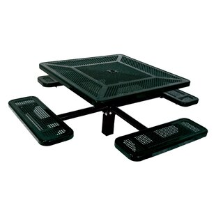 Ultra Play Single Pedestal Inground Square Picnic Table with Perforated Pattern