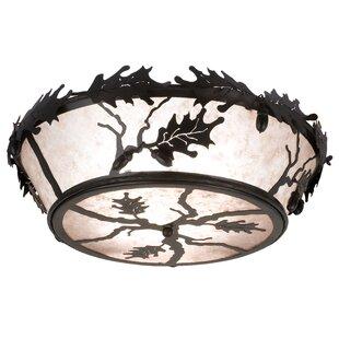 Meyda Tiffany Oak Leaf and Acorn 4-Light Flush Mount