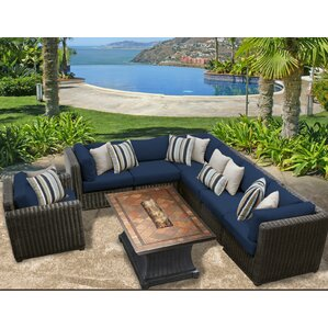 Awesome Venice Outdoor Wicker Patio 8 Piece Fire Pit Seating Group With Cushion