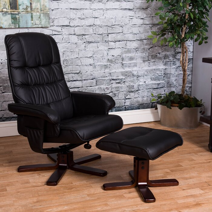 co recliner chair stool swivel w with homcom aosom foot massage beauty black health uk ottoman