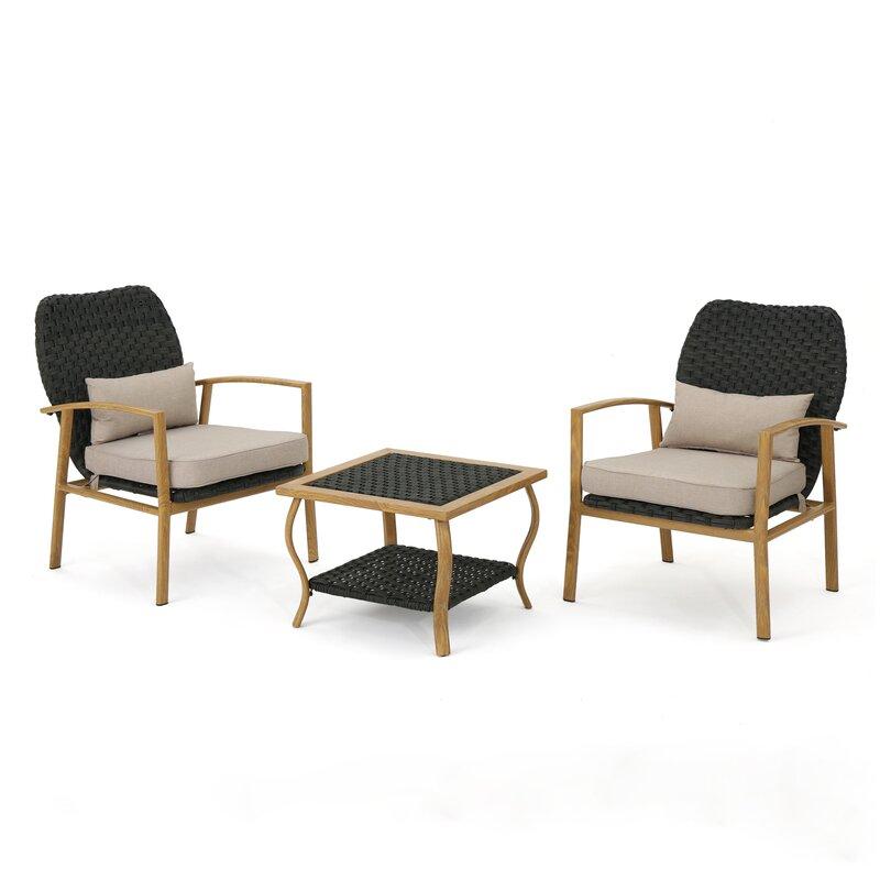 Mistana  Zaanstad 3 Piece Conversation Set with Cushions