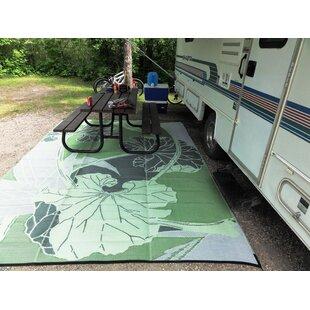 Blossom Rv Camping Patio Mat Green Grey Outdoor Area Rug