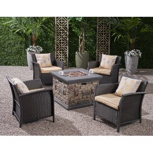 Pool 5 Piece Multiple Chairs Seating Group with Cushions