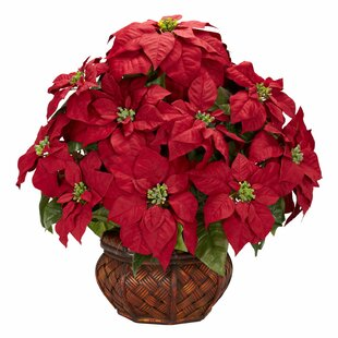 Poinsettia artificial flowers youll love wayfair poinsettia with decorative planter silk arrangement mightylinksfo