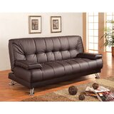 Zeidler Comfy Faux Leather Convertible Sofa by Latitude Run