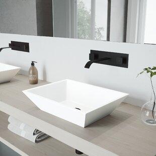 Vinca Stone Rectangular Vessel Bathroom Sink with Faucet VIGO