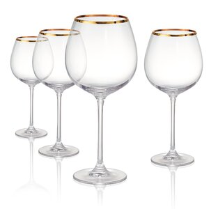 Gold Band Burgundy 24 oz Wine Glass (Set of 4)