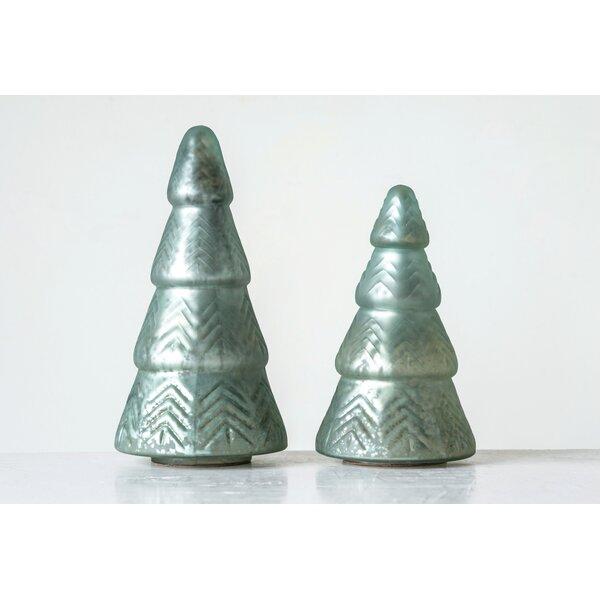 timeless design 7c80d bc7ba Mint Embossed Mercury Glass Christmas Tabletop Tree