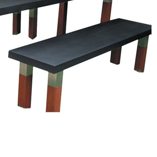 Modern Outdoor Kenji Stainless Steel and Wooden Park Bench