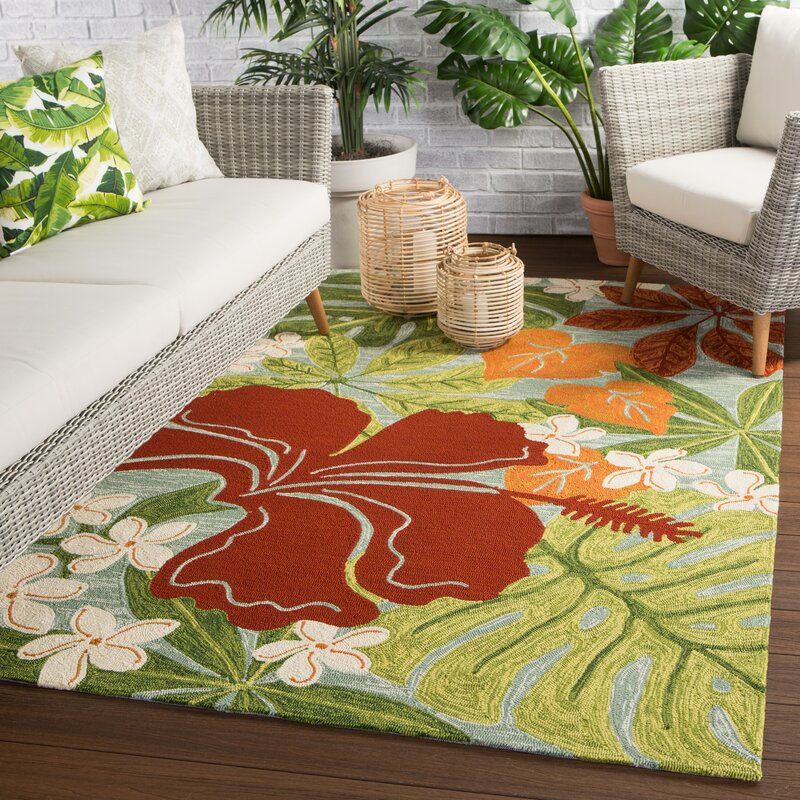 Bay Isle Home Artemi Floral Hand Hooked Red Green Area Rug Reviews Wayfair Ca