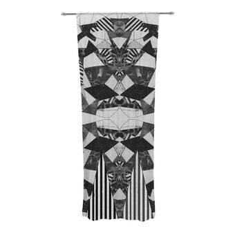 30 x 84 Sheer Curtains Kess InHouse Laura Nicholson Ribbon Ring Black Abstract Decorative Set