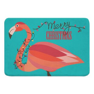 Varner Flamingo Christmas Bath Rug